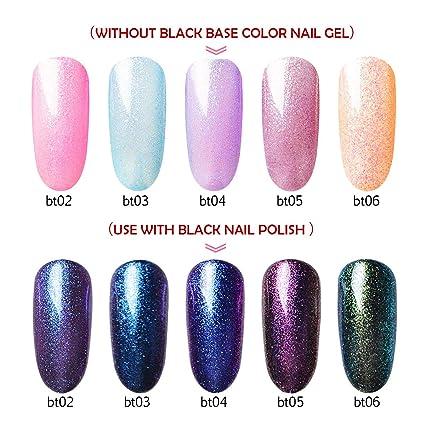 Esmalte de uñas 5 colores con purpurina + 1 gel negro, Saviland Soak Off UV