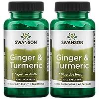 Swanson Full Spectrum Ginger & Turmeric 60 Capsules 2 Pack