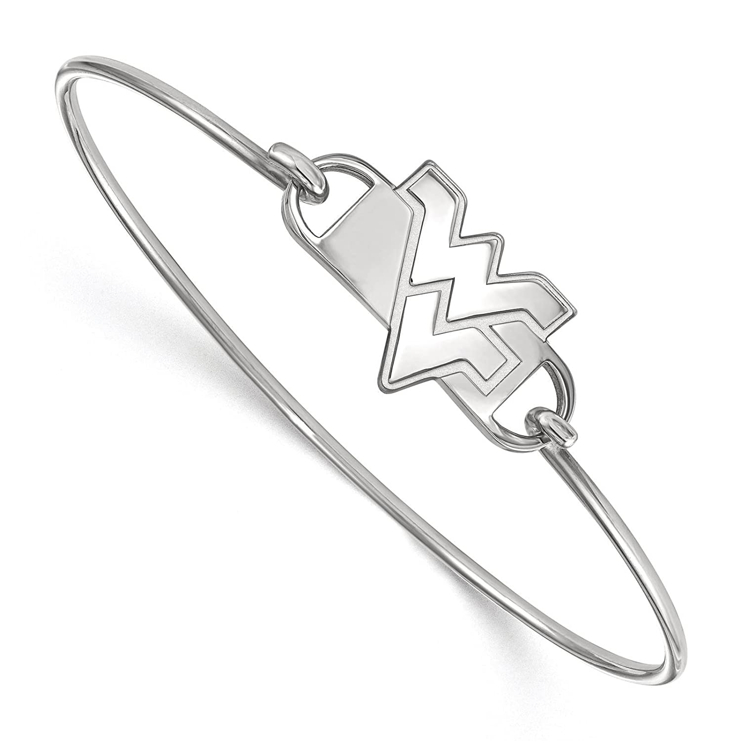 Sterling Silver Rhodium-plated Laser-cut West Virginia University Small Center Wire Bangle Bracelet 7