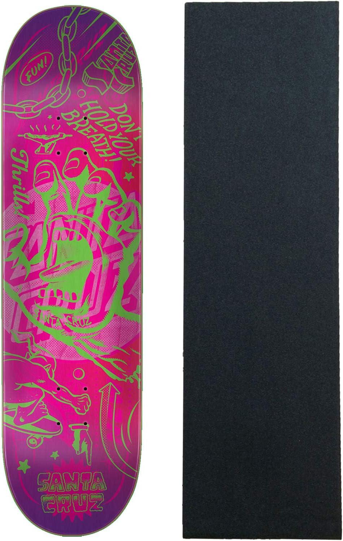 Santa Cruz スケートボード デッキ VX フラッシュハンド 8.5インチ クアッドXテクノロジー (グリップ付き)