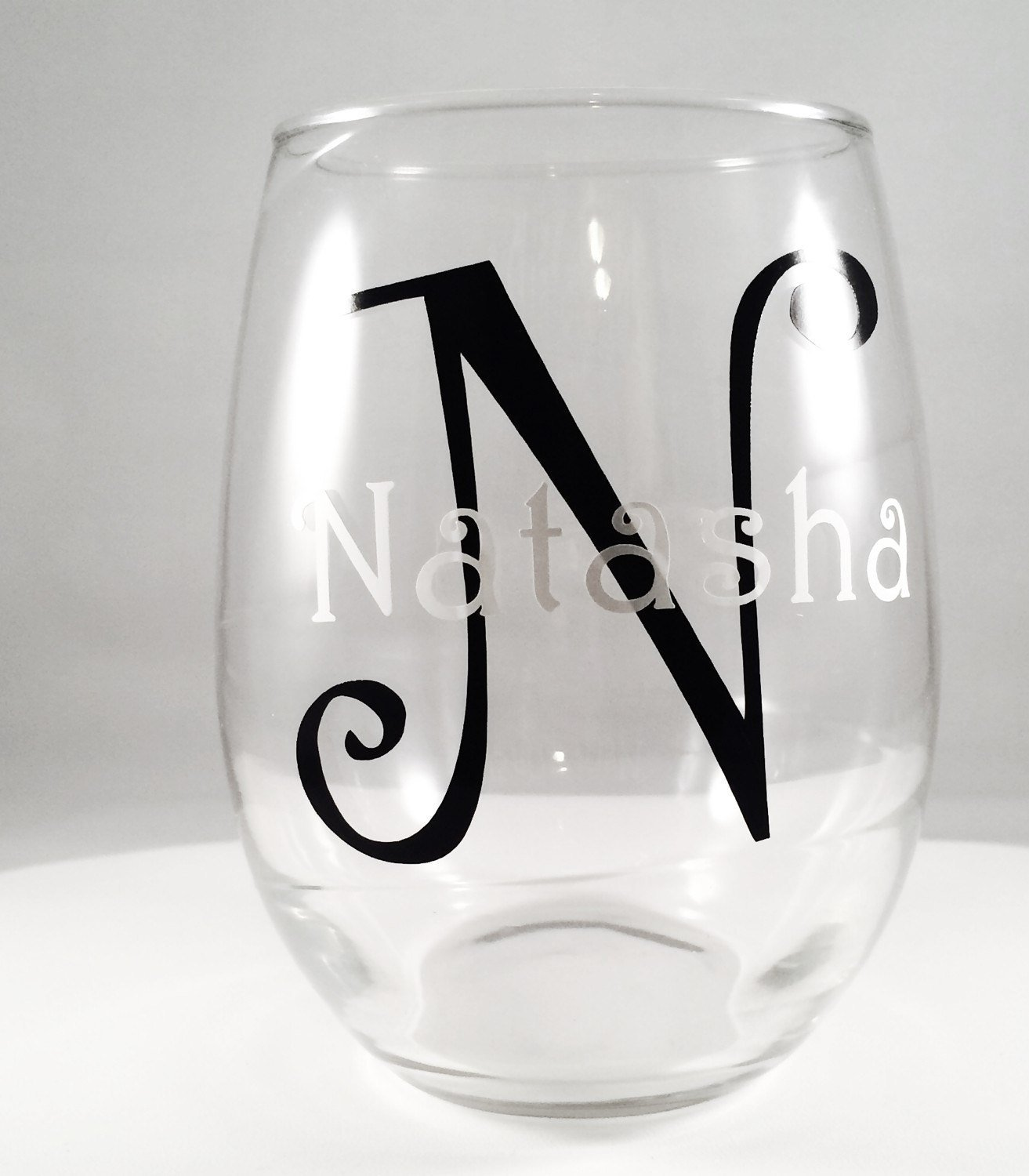 Personalized Name and Initial Stemless Clear Wine Glasses, 21 oz