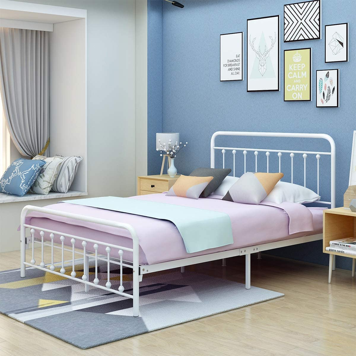 AUFANK Metal Bed Frame Queen Size Victorian Vintage Style Headboard and Footboard No Box Spring Heavy Duty Steel Slat Mattress Foundation White