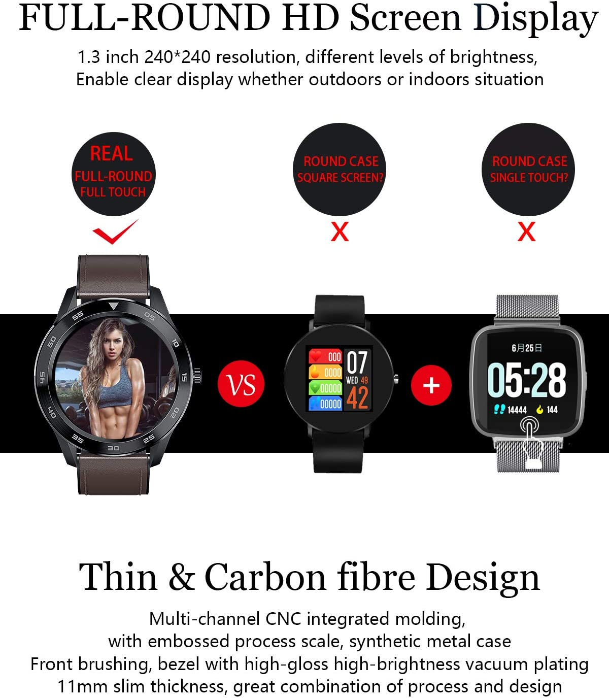 GBHN DT98 Full Circle Business Smart Watch Heart Rate ECG Monitoring Sleep Multi-Sport Bluetooth Watch Watch-Darkbrown Silver