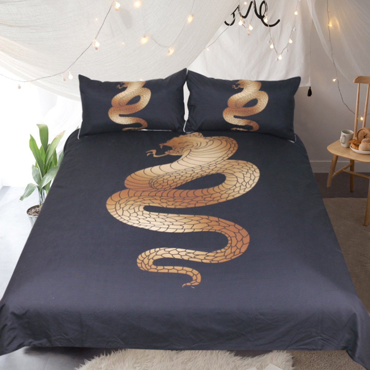Sleepwish Snake Bedding Golden Duvet Cover for Men Cool Animal Bed Spread Black and Gold Bed Covers (Snake, Queen)