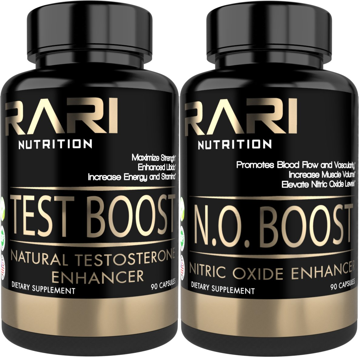 RARI Nutrition - Test Boost + N.O. Boost Combo Pack - 100% Natural Testosterone Booster and Nitric Oxide Enhancing Capsules for Muscle Size, Strength, and Increased Libido - 30 Serving Bottles