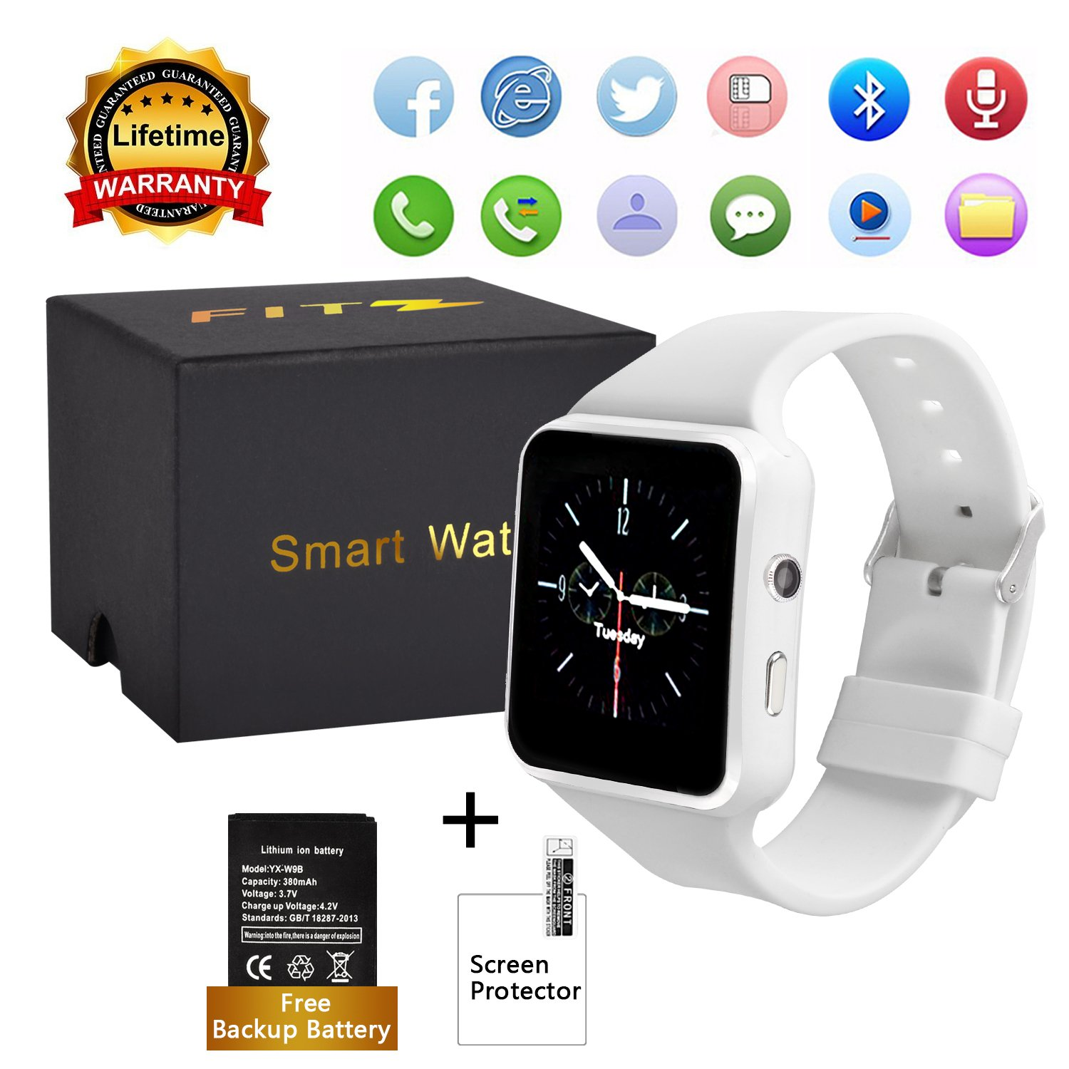 Upgraded Curved Touch Screen Bluetooth Smart Watch with Camera, Unlocked Watch Cell Phone Waterproof Smartwatch Phone for Android iOS Samsung iPhone ...