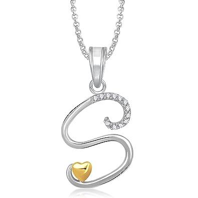 Buy Meenaz Jewellery Gold   Silver  S  Letter Pendant for girls women  Locket Pendants With Chain For Men Unisex Jewellery set for Women- Chain  Pendant-340 ... ee55127984f08