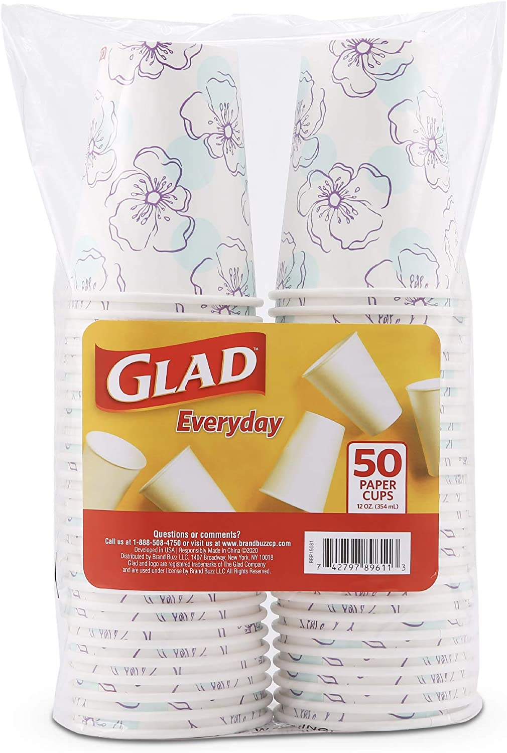 Glad Tabletop Disposable Paper Cups with Purple Flower Design, 12 Ounces, 50 Count