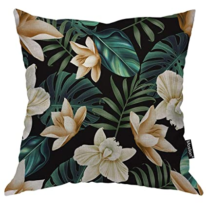 Awe Inspiring Moslion Palm Leaf Throw Pillow Case Tropical Flower Floral Botanical Plant Palm Tree Leaves Pillow Cover Decorative Square Cushion Accent Cotton Linen Caraccident5 Cool Chair Designs And Ideas Caraccident5Info