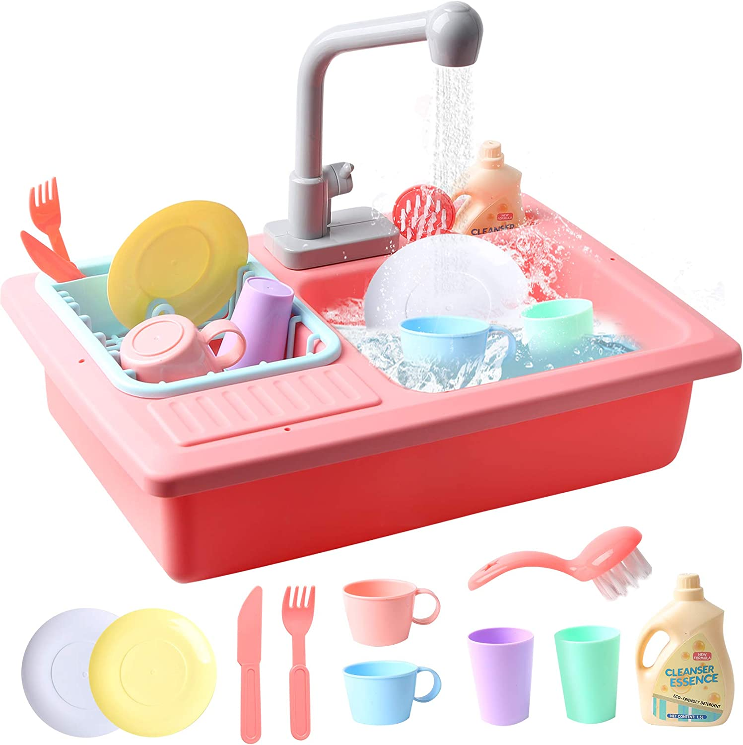 Elf Lab Kitchen Sink Toys Set,Electric Dishwasher Play Sink with Running Water,Kitchenwear Toys,Pretend Play House Toys Accessories,Kitchen Accessory Set for Toddlers Kids Boys and Girls Pink