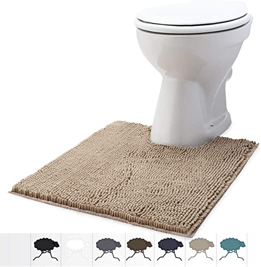 Machine Wash and Dry Fluffy Grip Shaggy Chenille U-Shape 22 x 25Inchs Contoured Mat for Base of Toilet Soft Plush Water Absorbent Toilet Rug with Contour Beige Size