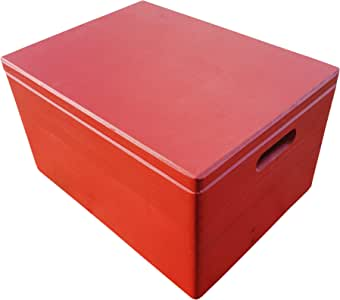 Woodenstock Caja Grande de Madera, con Tapa y Asas, 40 x 30 x 23 cm, Color Rojo: Amazon.es: Hogar