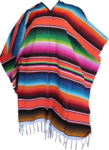 Mexican Serape Poncho Pancho Adult Costume Del Mex TM Orange