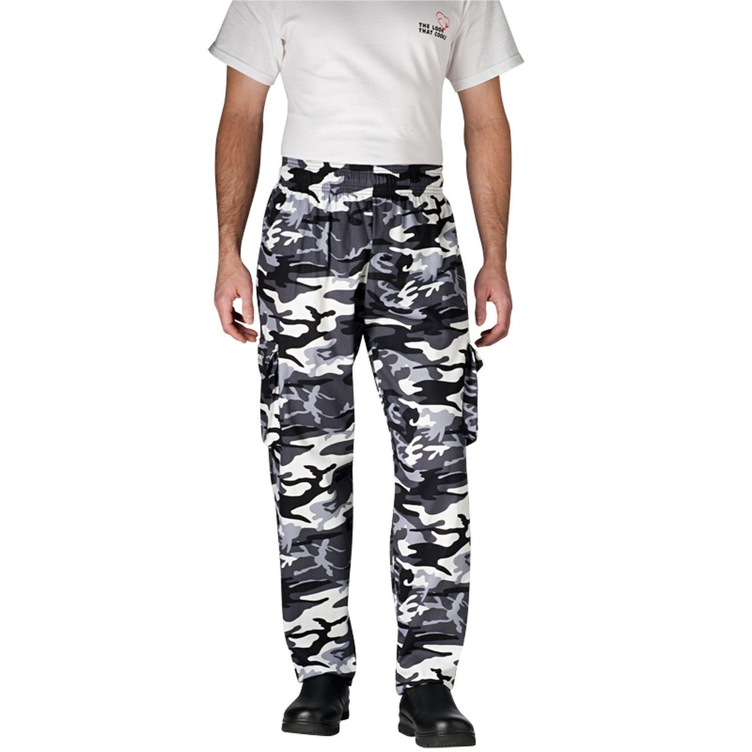 Chefwear Men's Unisex Cargo Cotton Chef Pant, Arctic Camouflage, Small