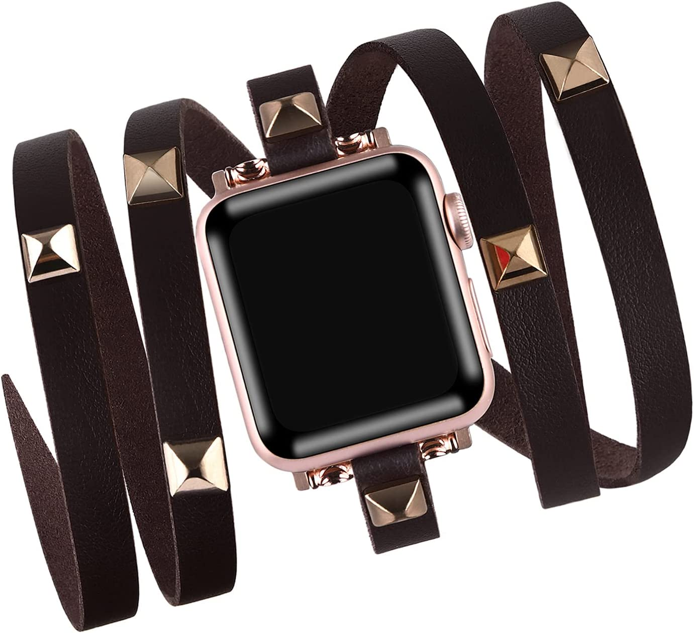 Vikoros Hip Hop Leather Bead Bracelet Compatible with Apple Watch Bands 38mm 40mm 42mm 44mm iwatch Series SE 6 5 4 3 2 1 for Women Mens, Fashion Charm Bracelets Bangle Jewelry Wristband Strap