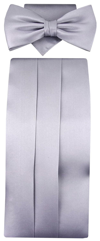 TigerTie Cummerbund handkerchief bow tie in silver hellgray - 100% silk