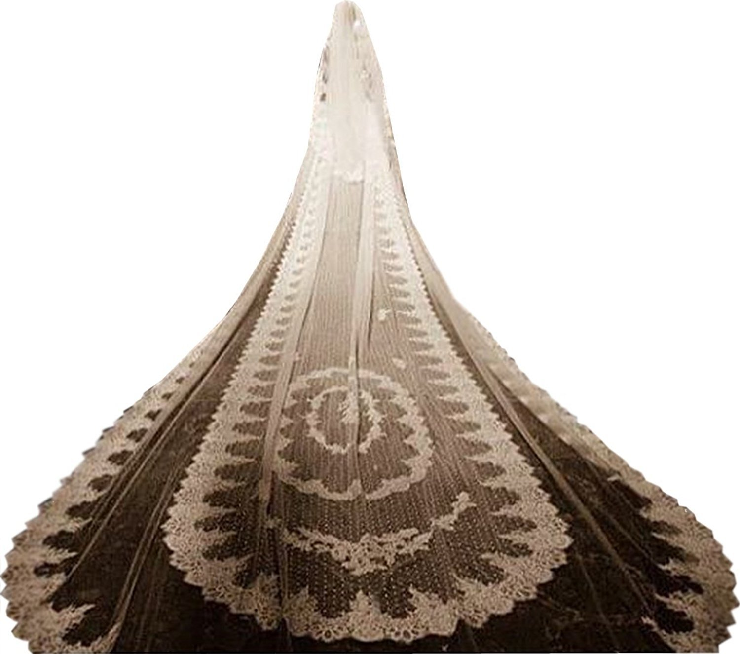 EllieHouse Women's 5 Meters 2 Tiers Lace Wedding Bridal Veil With Comb White S05