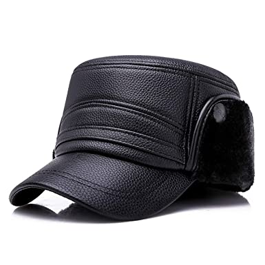 1138a30e2d60c PU Leather with Ear Flaps Winter Warm Military Hats Men Army Cap Flat Hat  Captain Hat