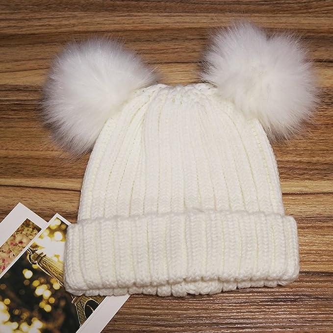 OULII Cappello con cappuccio in cotone a maglia invernale con doppio  orecchini Pom Pom (Bianco): Amazon.it: Abbigliamento