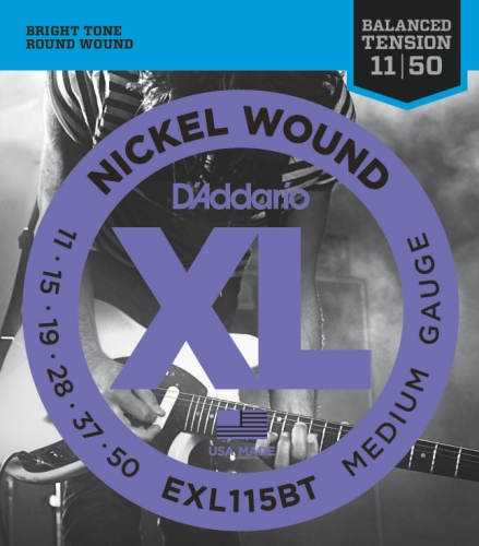 D'Addario EXL115BT Nickel Wound Electric Guitar Strings, Balanced Tension Medium Blues/Jazz Rock, 11-50 Daddario Nickel Bass Strings