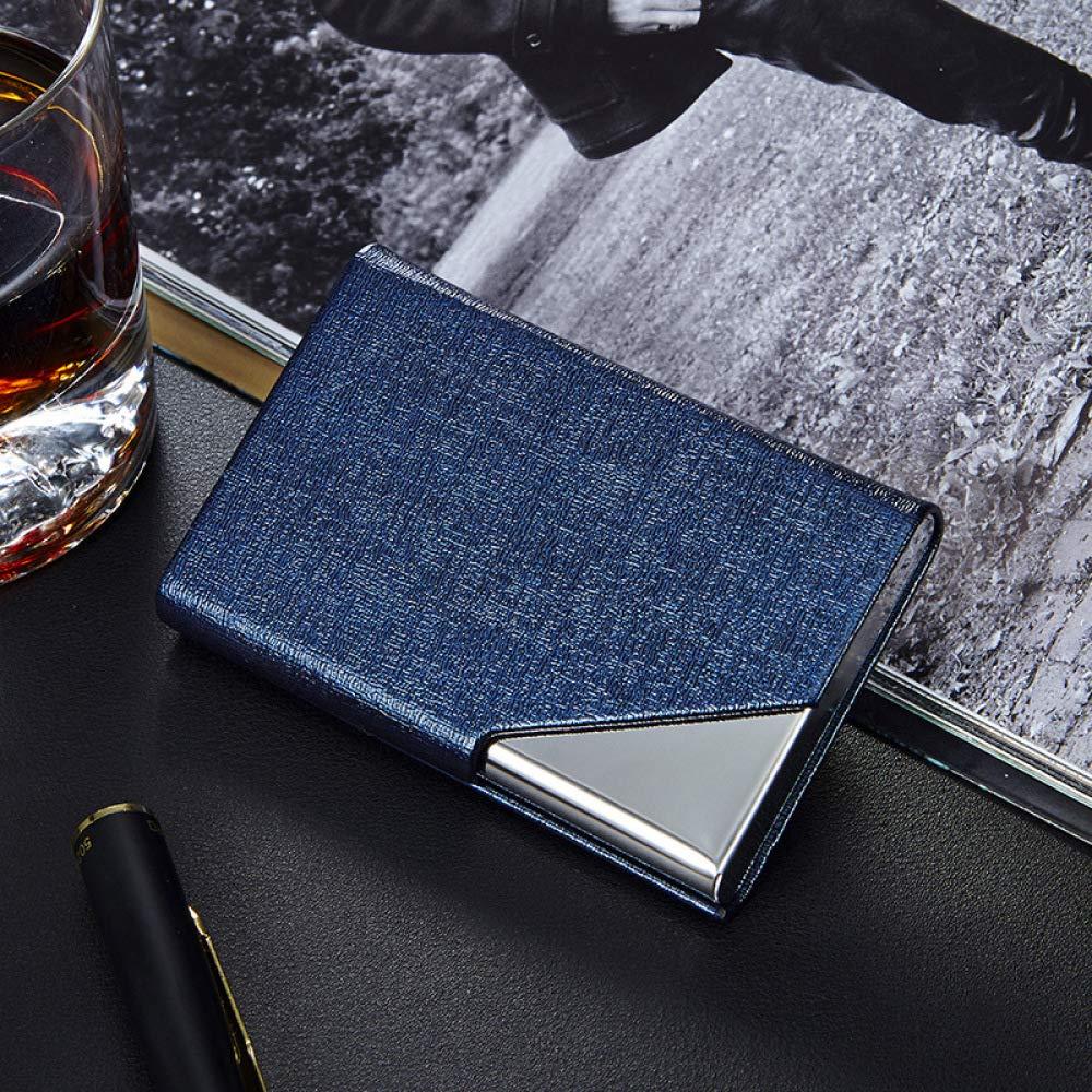 WEII Mode Kreative Leder Edelstahl Visitenkartenhalter Einfache Visitenkarte Fall Kreative Metall Visitenkartenbox Geschenk Blau Einheitsgrö ß e