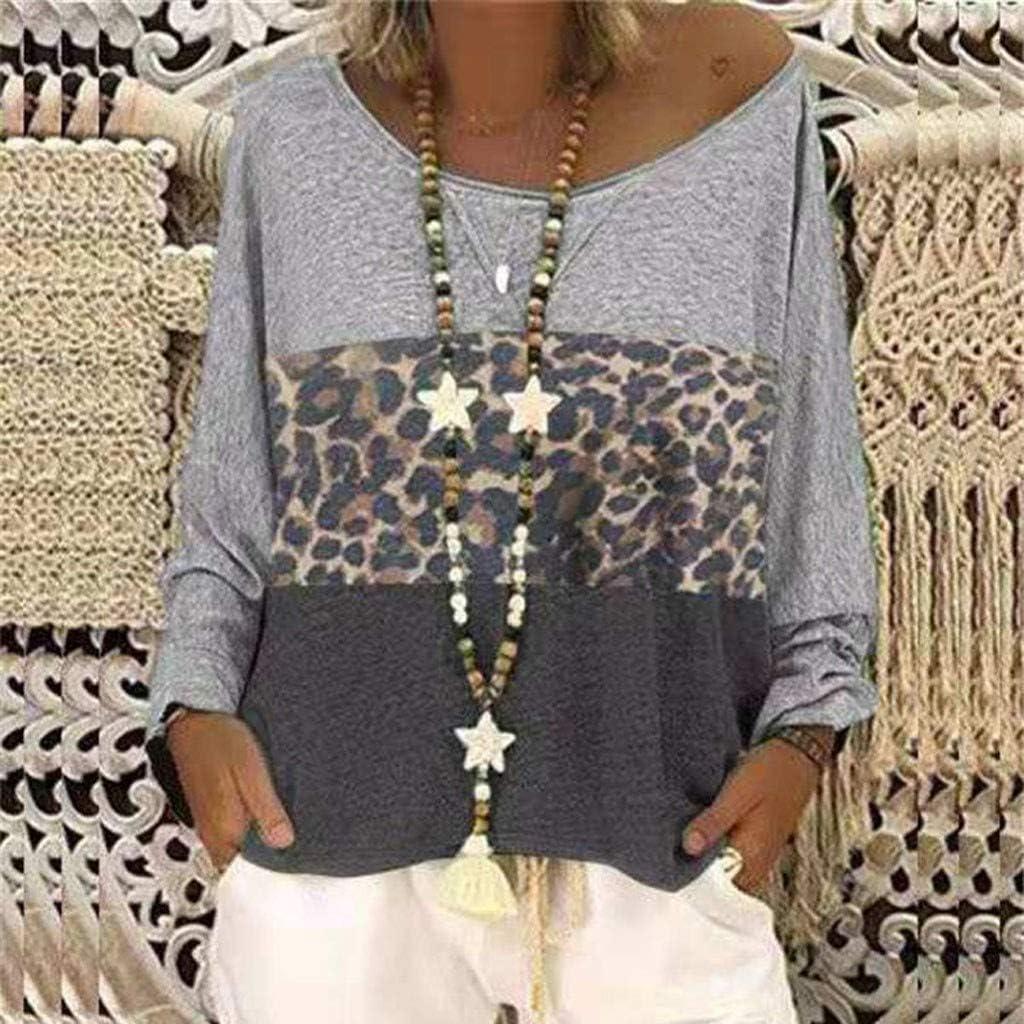 Lazzboy Women Top Plus Size Long / 3/4 Sleeve Colour Block Leopard Striped Oversized Shirt Blouse Ladies Loose Tops Grey-leopard Ⅱ.