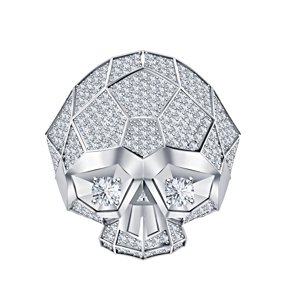 RUDRAFASHION Men's & Women's 925 Sterling Silver Plated 3.80 ctw Created White Sapphire Half Jaw Skull Ring