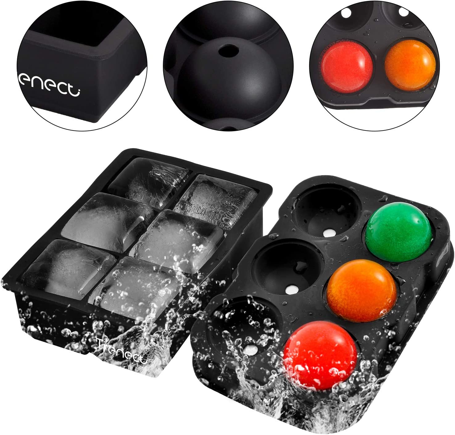 Black BPA Free Set of 2 Trenect Ice Cube Trays Silicone Large Size Sphere Ice Ball Maker with Lids /& Square Ice Cube Molds for Whiskey and Cocktails