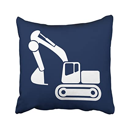 Amazon Suesoso Pillowcover 40x40 Excavator In Navy Blue White Enchanting Navy And White Decorative Pillows