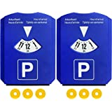 Lot de 2 Disques de stationnement pour zone bleue avec 3 Jetons de caddie, Européen Disque en plastique Bleu, M&H-24