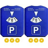 Lot de 2 Disques de stationnement pour zone bleue avec 3 Jetons de caddie, Européen Disque en plastique Bleu Voiture