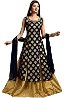 Nine Street Store Women's Crepe Silk Dress Material Dress Material (Nss_Zacquard-Black_Black_Free Size)