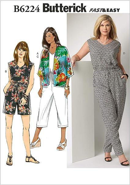 RR Butterick Patterns B6224RR0 Womens Kimono and Jumpsuit 18W-20W-22W-24W