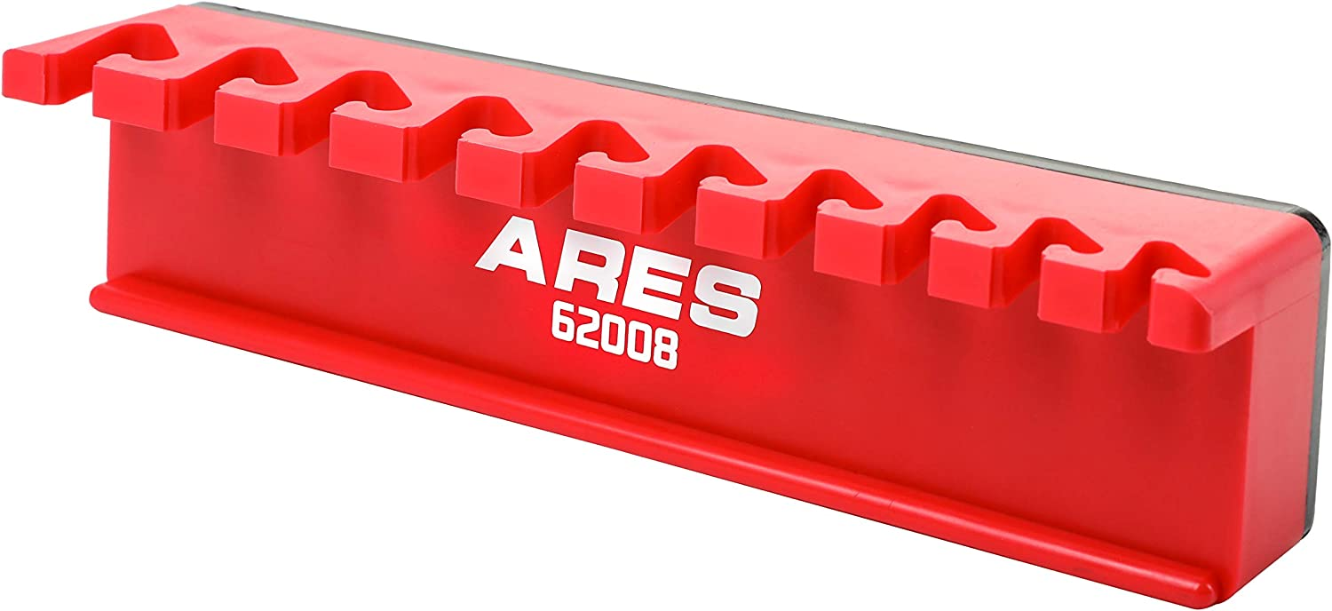ARES 62023-10-Piece Black Magnetic Wrench Organizer Sturdy Plastic Rack Stores up to 10 SAE and Metric Wrenches and Keeps Your Garage Organized