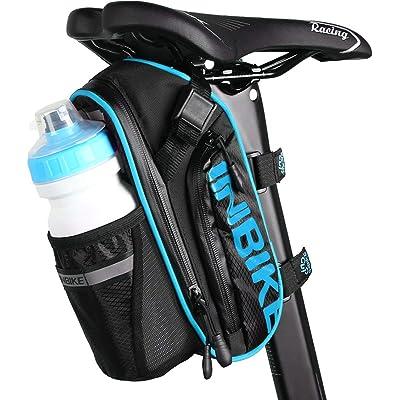 Arkmiido Bolsas para Sillines de Bicicletas, Accesorios de Bicicleta de Montaña Bolsa de Poliéster, Bolsillo para Botella de Bicicleta de 1.2L y Material Especial Reflectante para Bicicletas Bolsa