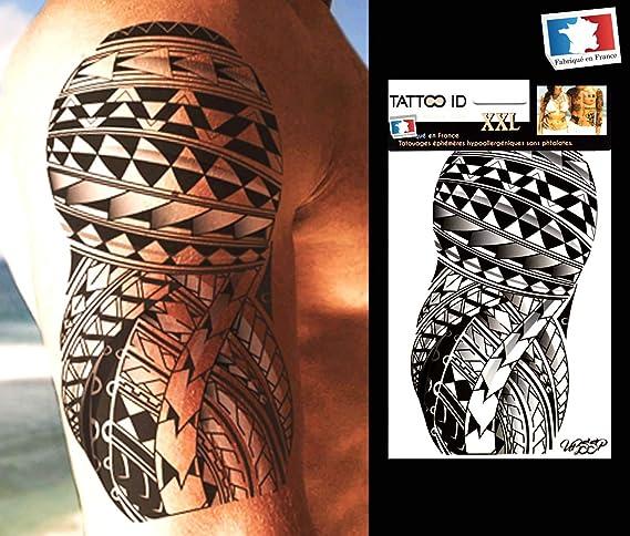Tatouage Ephemere Temporaire Homme Bras Samoan Tribal Polynesien Maori Tattoo Id Xxl Hypoallergenique Fabrique En France 1 Planches 22cm X 14 5cm Homme Femme Amazon Fr Beaute Et Parfum