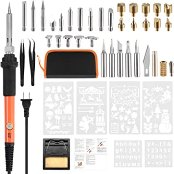Wood Burning Tool Pen Set Stand,Case 5 Soldering Tip 6 Stencil Wood Burning Kit Embossing//Carving Tip 44Pcs 60W Electric Wood Burning Tool Kit Temperature Adjustable with Soldering Iron Pen