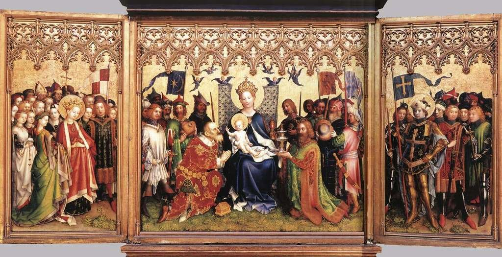 Lochner Stephan Altarpiece of the Patron Saints of Cologne 100% Hand Painted Replica Oil Paintings 12X16 Inch