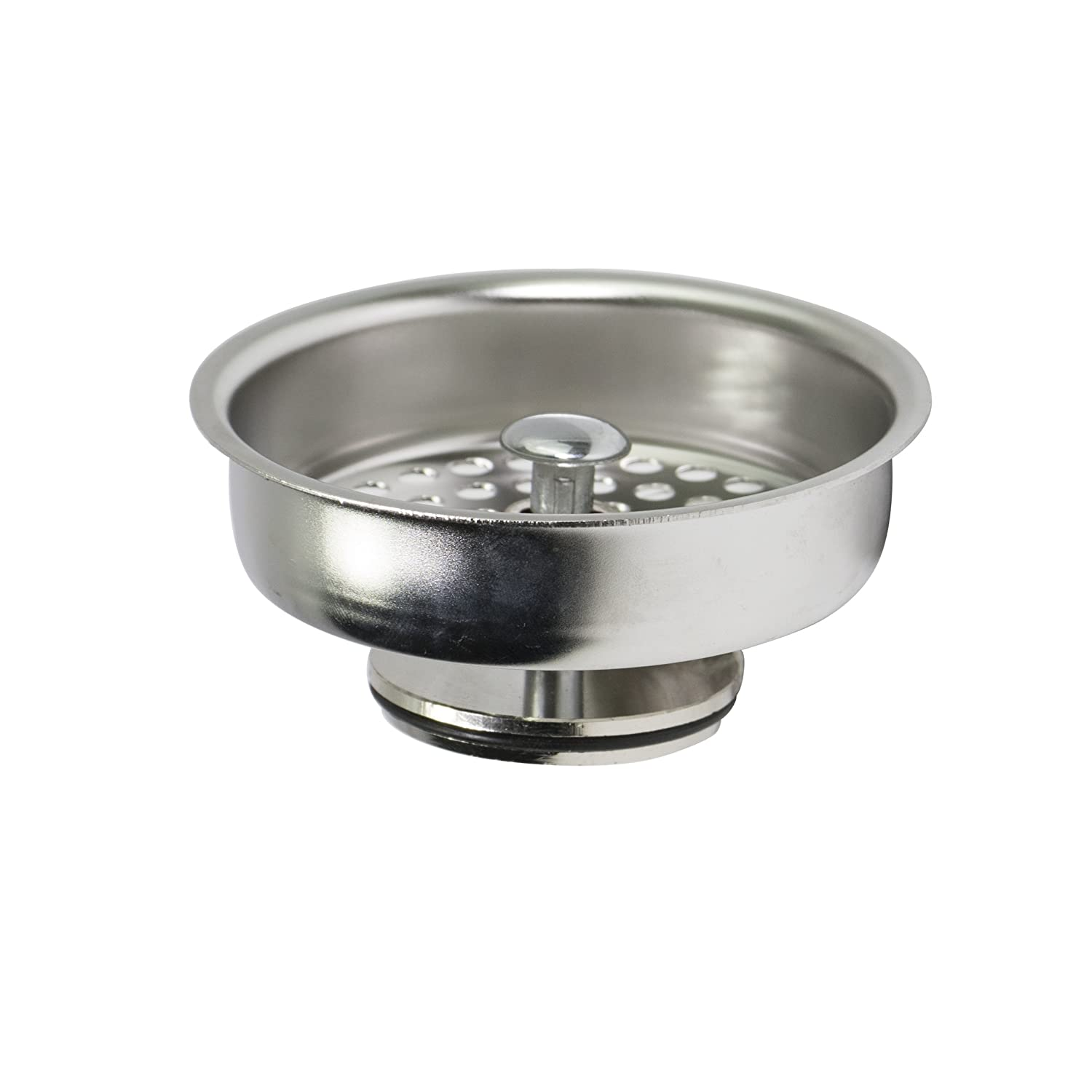 Everflow 75131 Kitchen Sink Basket Strainer Replacement for Kohler Style Drains Stainless Steel - With Spring Steel Stopper