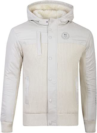 Mens Crosshatch Heavy Knitted Zip-Up Cardigan Jacket with Full Fur