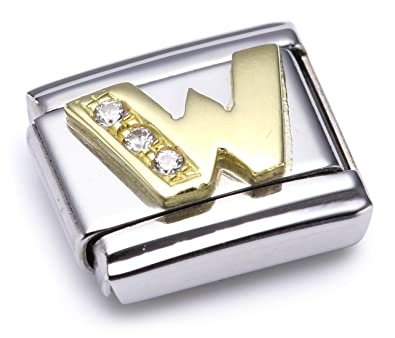 Nomination Composable Classic E Letter Stainless Steel, K Gold and Cubic Zirconium