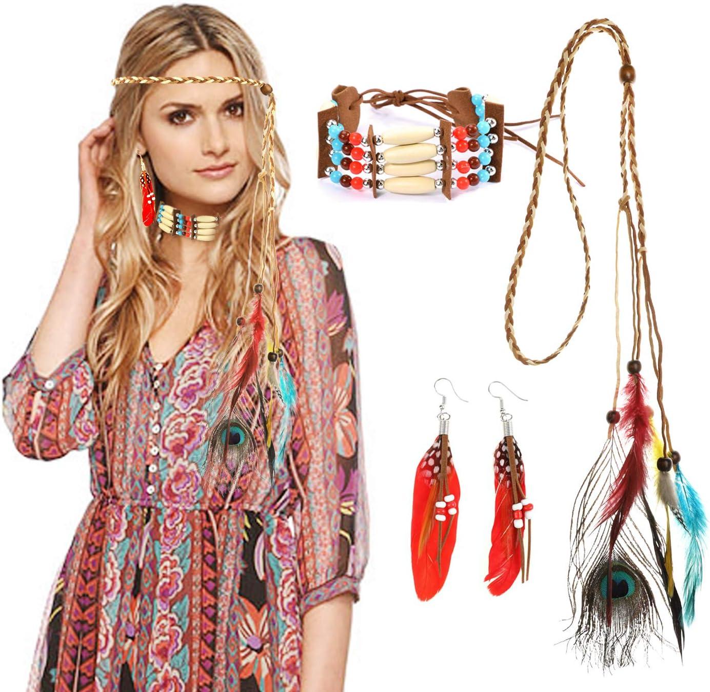 HOWAF 3 Piezas Diadema India Tocado Cinta de Cabeza con Plumas Disfraz Accesorios para Mujeres ni/ñas Hombres Tama/ño /único Multicolor