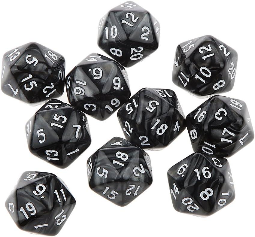 Desconocido 10pcs Juegos de Mesa Dados de Veinte Caras D & D TRPG Padrón de Perla - Negro