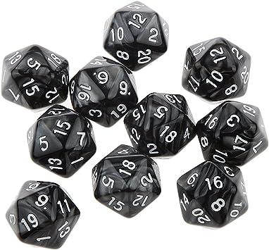 Desconocido 10pcs Juegos de Mesa Dados de Veinte Caras D & D TRPG Padrón de Perla - Negro: Amazon.es: Juguetes y juegos