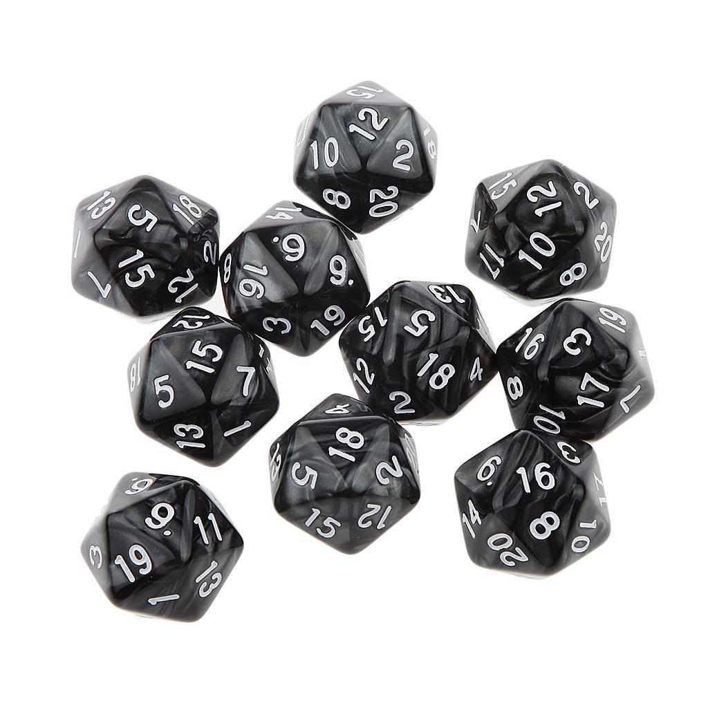 10pcs 25mm Dés Multi-faces Dices Vingt Faces D20 D & D RPG Jeu Amateurs Cadeau (Divers) - Noir Generic
