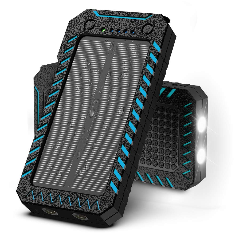 X-DRAGON Solar Charger 15000mAh Power Bank Portable Dustproof Shockproof Dual USB Solar Panel Battery Charger with Dual Super Bright LED Light Compatible with iPhone, Samsung Galaxy and More by X-DRAGON