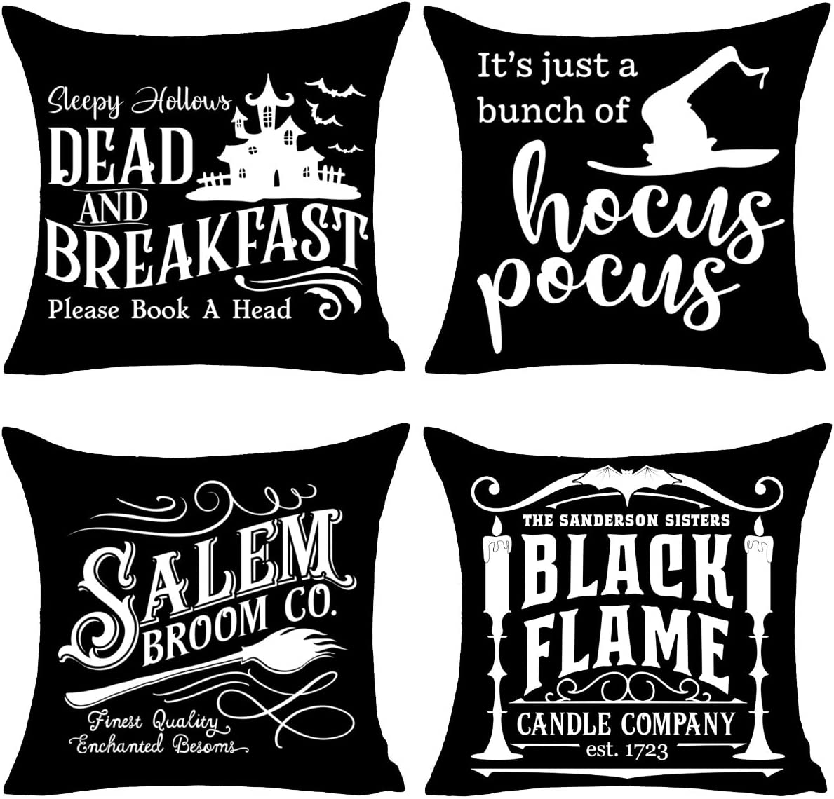 PSDWETS Fall Decor Black Throw Pillow Covers Set of 4 with Halloween Decorations Quotes Hocus Pocus Cotton Linen Home Pillow Covers 18 x 18 Inches for Rustic Modern Farmhouse