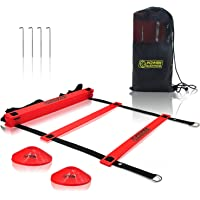 POWER GUIDANCE Agility Ladder (20 Feet) for Speed & Agility Trainning - with 12 Heavy Duty Plastic Rungs, Ground Stakes, Carry Bag & 8 Sports Cones