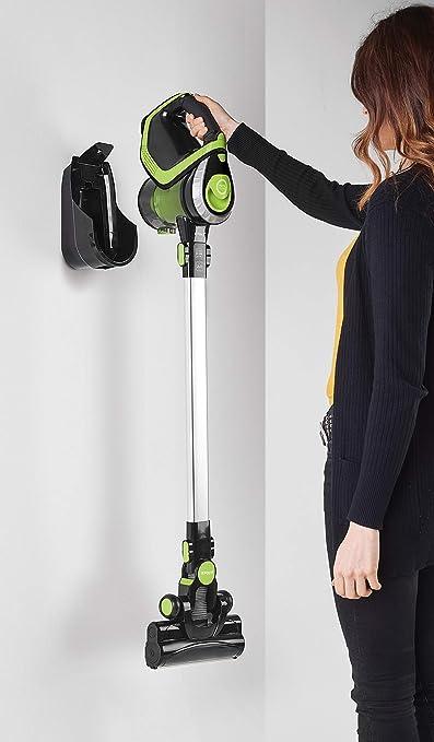 Polti Forzaspira Slim SR110 Escoba eléctrica recargable sin cables 2 en 1, tecnología ciclónica, autonomía de hasta 50 minutos, 3 fases de filtrado con filtro HEPA, Negro/Verde: Amazon.es: Hogar