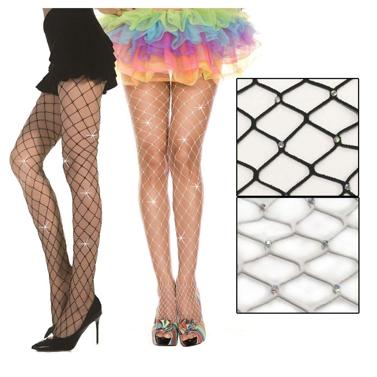 2-Pack Diamond Net Rhinestone Sparkle Pantyhose Shiny Gem Mesh Stockings